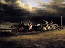 Théodore Géricault: Le Derby d'Epson. 1821. Huile sur toile, 92 x 122 cm. Paris, Musée du Louvre