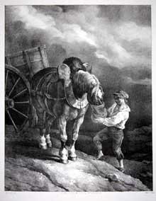 Théodore Géricault: garçon donnant l'avoine à un cheval dételé. Lithographie