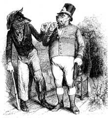 Grandville: le loup et le chien. Illustration pour les fables de La Fontaine