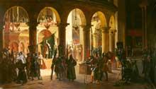 François Marius. Granet: Godefroy de Bouillon dépose les trophées d'Askalon dans l'église du saint Sépulcre. 1839. Huile sur toile, 305 x 175 cm. Musée du château de Versailles.