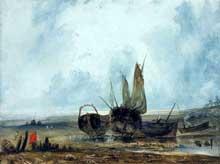 Paul Huet: barques de pêche. Huile sur toile