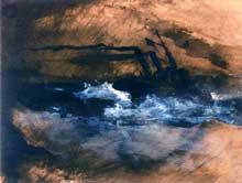 Victor Hugo: Gros temps, la Durande. Dessin des Travailleurs de la Mer. Plume, pinceau, encre brune et lavis, rehauts de gouache blanche. Maison de Victor Hugo
