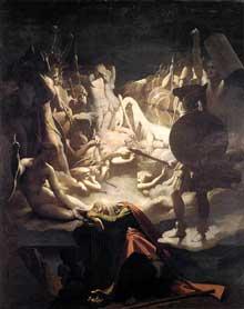 Jean Auguste Dominique Ingres: Le rêve s'Ossian. 1813. Huile sur toile, 348 x 275 cm. Montauban, Musée Ingres