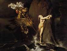 Jean Auguste Dominique Ingres: Roger délivre Angélique. 1819. Huile sur toile, 147 x 190 cm. Paris, Musée du Louvre