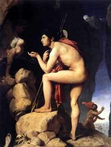 Jean Auguste Dominique Ingres: Oedipe et le Sphinx. 1808-25. Huile sur toile, 189 x 144 cm. Paris, Musée du Louvre
