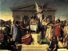 Jean Auguste Dominique Ingres: L'apothéose d'Homère. 1827. Huile sur toile, 386 x 512 cm. Paris, Musée du Louvre