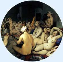 Jean Auguste Dominique Ingres: Le bain turc. 1862. Huile sur toile sur bois, diamètre 108 cm. Paris, Musée du Louvre