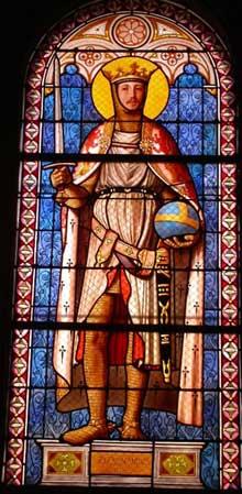 Jean-Auguste Dominique Ingres: Saint Ferdinand. Vitrail. Paris, Chapelle de la Compassion (Saint-Ferdinand)