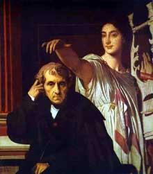 Jean-Auguste-Dominique Ingres: Luigi Cherubini et la Muse de la poésie lyrique. 1842. Huile sur toile. Louvre, Paris, France