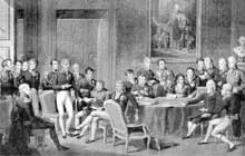 Jean Baptiste Isabey: le Congrès de Vienne On peut reconnaitre: à gauche, debout et de profil, le duc de Wellington (Royaume-Uni); au premier plan, debout devant un fauteuil, Metternich (Autriche); au premier plan, assis les jambes croisées, Castlereagh (Royaume-uni); derrière la table, un papier à la main, Nesselrode (Russie); à droite, assis le bras droit posé sur la table, Talleyrand (France)