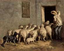 Charles Jacque: rentrée à la bergerie. 1855. Huile sur toile, 33 x 41 cm.