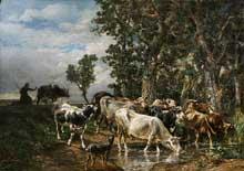 Charles Jacque: Troupeau de Vaches à L'abreuvoir. Huile sur toile. 144 x 199 cm. Cambridge Art Gallery