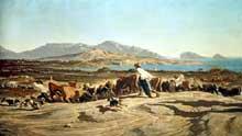 Emile Loubon: troupeau paissant près de Marseille. 1853. Huile sur toile. Marseille, musée des beaux Arts