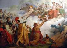 La Sagesse divine donnant des lois aux rois et aux législateurs, entourée de l'Equité et de la Prudence. Huile sur toile pour le plafond de la salle Montreuil du Louvre. 1826-1827