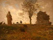 Jean-François Millet: Paysage d'automne avec un groupe d'oies. 1873. Huile sur toile. New York, Metropolitan Museum of Art