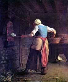 Jean-François Millet: la cuisson du pain. 1854. Huile sur toile, 55 x 46 cm. Otterlo, Rijksmuseum Kröller-Müller