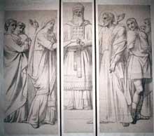 Victor Mottez: Le Mariage de la Vierge, 1867. Crayon noir et fusain. Trois cartons pour vitrail: 276 x 119,5 cm ; 290 x 69 cm ; 281 x 119 cm. Lille, Palais des Beaux-arts