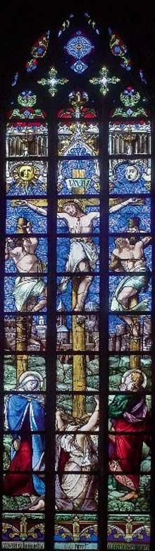 Charles Gaudelet (d'après Victor Mottez): Le Calvaire, 1859. Vitrail. Lille, Eglise Saint-Maurice