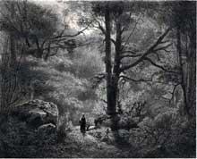 Célestin Nanteuil: la reine Blanche dans la forêt de Fontainebleau. Lithographie, 23 x 28,4 cm