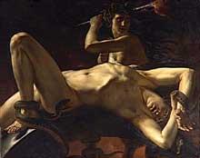Abel de Pujol: Ixion enchaîné dans le Tartare. 1824. Huile sur toile, Paris, musée du Louvre