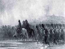 Auguste Raffet: «Ils grognaient, et le suivaient toujours». 1836. Lithographie