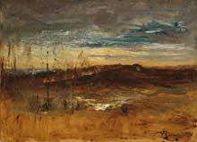 Auguste Ravier: paysage au coucher du soleil. Huile sur toile, 25 x 34 cm. Cambridge, Fitzwilliam Museum