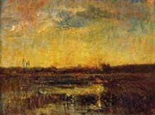 Auguste Ravier: soleil levant. 1870. Huile sur cuivre, 20 x 26 cm. Grenoble, musée des beaux Arts.