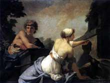 Jean Baptiste Regnault: L'origine de la peinture: Dibutades fait le portrait d'un berger. 1785/ Huile sur toile, 120 x 140 cm. Versailles, Musée National du Château