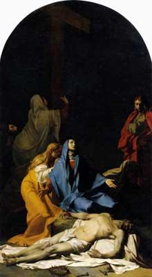 Jean Baptiste Regnault: La descente de la croix. 1789. Huile sur toile, 425 x 233 cm. Musée du Louvre, Paris