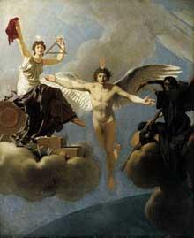 Jean Baptiste Regnault: Le Génie de la France entre la Liberté et la Mort. 1795. Huile sur toile, 60 x 49 cm. Hambourg, Kunsthalle.