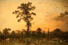Théodore Rousseau: orée de forêt à l'aube. 1845-1846. Huile sur toile. Los Angeles County Museum of Art