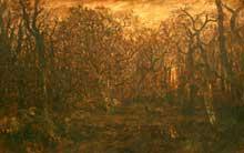Théodore Rousseau: la forêt en hiver à l'aube. 1845-1846. Huile sur toile. New York, Metropolitan Museum