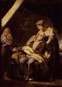 Octave Tassaert: la famille malheureuse. Huile sur toile. Bayonne, musée Bonnat