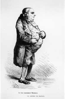Charles Joseph Traviès: Le bon monsieur Mathias, le contrat de mariage. Dessin pour l'édition Furne de La Comédie humaine. 1842, tomeIII, p. 166