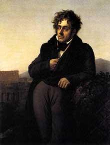 Anne Louis Girodet de Roucy-Trioson: François-René de Chateaubriand. 1809. Huile sur toile, 120 x 96 cm. Saint Malo, Musée d'Histoire et du Pays Malouin
