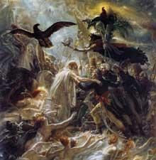 Anne Louis Girodet de Roucy-Trioson: Les Ombres des guerriers français conduites à Ossian. 1802. Huile sur toile, 192 x 184 cm. Rueil, Musée National du Château de Malmaison