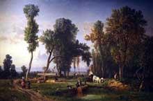 Constant Troyon: Vue à La Ferté-Saint-Aubin, près d'Orléans. Vers 1837. Peinture à l'huile sur toile. Los Angeles County Museum of Art