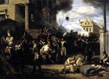 Horace Vernet: défense de la porte de Clichy le 30 mars 1814. 1820. Huile sur toile, 98 x 131 cm. Paris, musée du Louvre