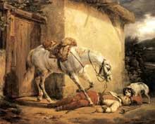 Horace Vernet: le trompette de cavalerie blessé. 1819. Huile sur toile, 53 x 64 cm. Londres, Wallace collection