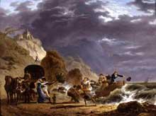 Carle Vernet: débarquement des émigrés avec la duchesse du Berry sur la côte française. Huile sur toile, 36 x 49 cm. Collection privée