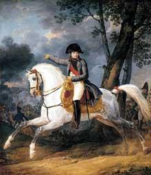 Carle Vernet: portrait équestre de l'empereur NapoléonI. Huile sur toile, 134 x 112 cm. Collection privée