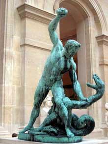 François Joseph Bosio: Hercule combattant Acheloüs transformé en serpent, 1824. Bronze, 2m60. Paris, musée du Louvre