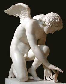 Pierre Cartellier – Antoine Denis Chaudet: l'Amour prenant un papillon. 1817. Marbre blanc, 64 x 90 cm. Cimetière du Père Lachaise