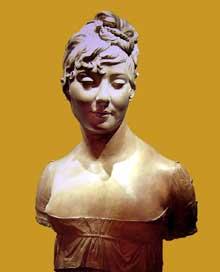 Joseph Chinard: buste d'une inconnue. Terre cuite, 64 cm datée de Messidor, an X (juin-juillet 1802). Paris, Musée du Louvre