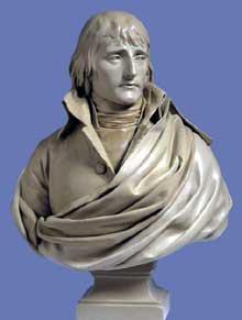 Charles Louis Corbet: Portrait de Napoléon Bonaparte, 1797? Plâtre, 85 cm. Nice, Musée Massena
