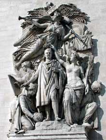 Jean Pierre Cortot: le triomphe de 1810. Pierre. Paris, arc de Triomphe de l'Etoile