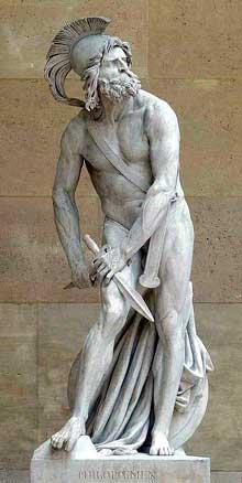 David d'Angers: Philopoemen. 1830. Marbre, 246 cm. Paris, musée du Louvre