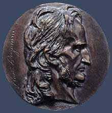 David d'Angers: Niccolo Paganini. 1834. Bronze, diamètre: 15 cm. Collection privée