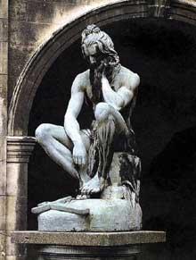 Francisque Joseph Duret: Chactas méditant sur la tombe d'Atala. 1835. Bronze, 135cm. Lyon, musée des beaux Arts