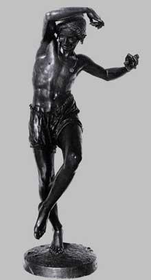 Francisque Joseph Duret: pêcheur napolitain dansant la tarentelle. 1833. Bronze, 158 cm. Paris, musée du Louvre